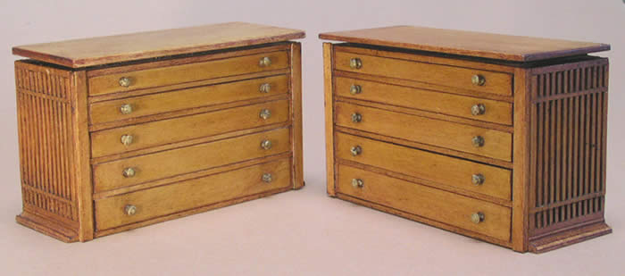 Miniature Architectural Drafting Table and File Drawers