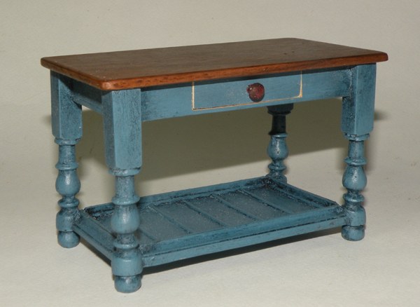 Miniature Traditional Short Table with Drawer & Shelf - Click photo to order