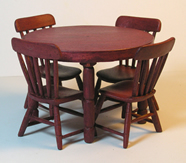 Miniature Country Round Table Red or Natural