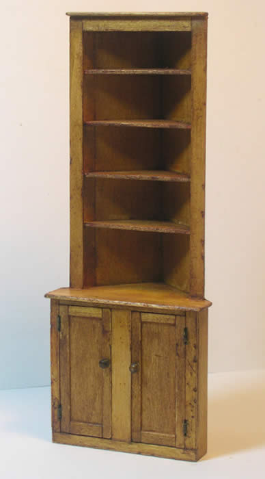 Miniature Shaker Corner Cabinet - Miniatures from Shaker Works West