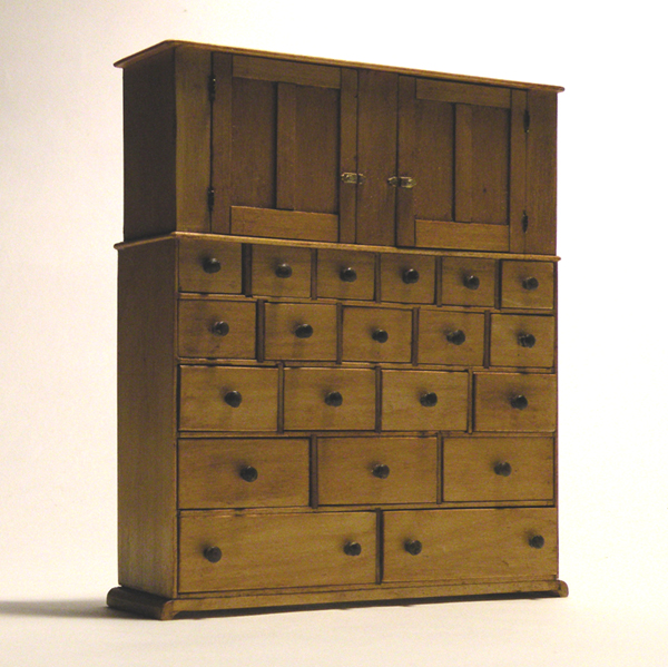 Miniature Cupboard and Case of Drawers #77, circa 1840