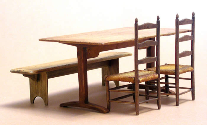 Classic Shaker Trestle Table with 2 #61 Shaker chairs and a Meeting House Bench.